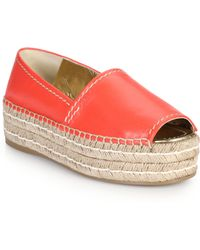 Prada Platform Open-Toe Leather Espadrilles - Lyst