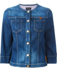 Armani Jeans Collarless Denim Jacket - Lyst