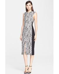 Jason Wu Sleeveless Abstract Print Ponte Knit Dress With Belt - Lyst
