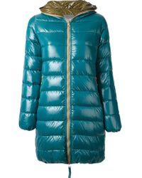 Duvetica Blue Hooded Coat - Lyst