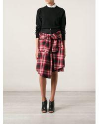 David Szeto - Tartan Knotted Shirt Skirt - Lyst