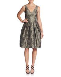 Vera Wang Metallic Brocade V-back Dress - Lyst