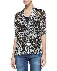 Diane von Furstenberg Harlow Tab-sleeve Snow Leopard-print Blouse - Lyst