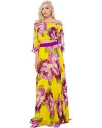 Akira Black Label - Garden Of Eden Purple Yellow Floral Print Crop Top - Lyst
