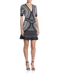 Roberto Cavalli Short-Sleeve Jacquard Knit Dress - Lyst