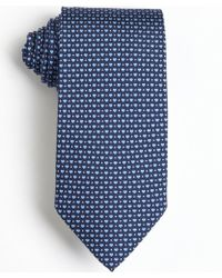 Ferragamo Navy and Blue Heart and Dot Printed Silk Tie - Lyst