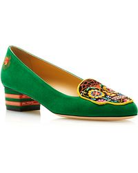 Charlotte Olympia Day Of The Dead Embroidered Suede Loafers in Green - Lyst