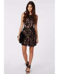 Missguided Irinah Lace Organza Skater Dress Black - Lyst