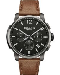 COACH - Men's Bleecker Chrono Brown Leather Strap Watch 42mm 14602017, Macy's Exclusive - Lyst