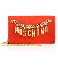 Moschino Logo Charm Calf Hair Chain Wallet red - Lyst