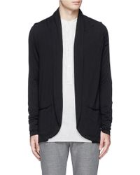 Attachment Shawl Collar Cotton Jersey Cardigan - Black