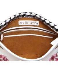 Manish Arora Sequined Flowers Faux Leather Pouch - White