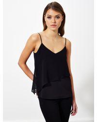 Miss Selfridge Asymmetric Layer Camisole - Black