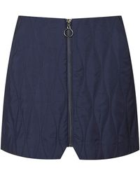 Topshop Womens Premium Quilted Zip Skirt  Navy Blue - Lyst
