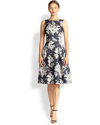 Carolina Herrera Lace-Print Silk Gazar Dress - Lyst