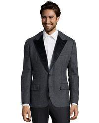 Dolce & Gabbana Grey Melange Virgin Wool Blend 'Fugey' 2-Button Front Blazer - Lyst