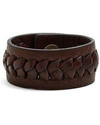 Frye - 'jenny' Braided Leather Bracelet - Dark Brown - Lyst