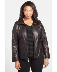 Ellen Tracy Plus Size Women'S Leather Scuba Jacket - Lyst