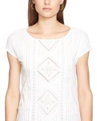 Ralph Lauren Crochet-Paneled Cotton Tee white - Lyst