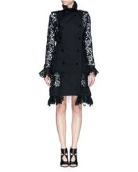 Sacai Lace Sleeve Twill Swing Coat - Lyst
