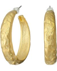 Kenneth Jay Lane Hammered Medium Hoop Pierced Earrings - Lyst