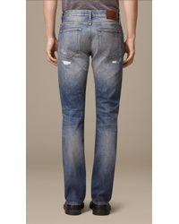 Burberry Straight Fit Japanese Denim Jeans - Blue