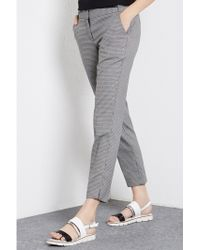 Warehouse Cropped Check Trousers - Black