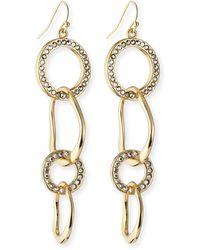 Fragments Golden Ringlinkpave Earrings - Lyst