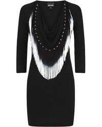 Just Cavalli Cowl Neck Fringe Dress - Lyst