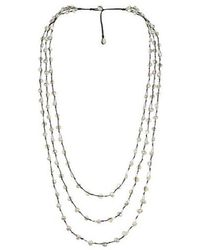 Aeravida - Orient Freshwater White Pearls Triple Strand Necklace - Lyst