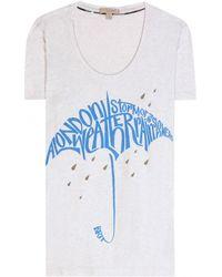 Burberry Brit - Printed Cotton T-Shirt - Lyst