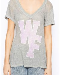Wildfox V Neck T-shirt with Letter Logo - Lyst