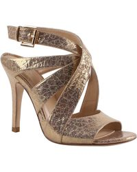 Kay Unger - Sussex Gold Embossed-leather Sandals - Lyst