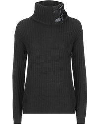 Ralph Lauren Black Label Leathertrim Turtleneck Sweater - Lyst