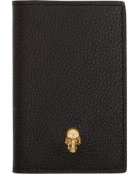 Alexander McQueen Black Leather Skull Wallet - Lyst