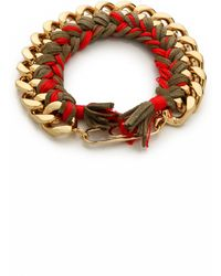 Aurelie Bidermann Do Brasil Bracelet - Khaki/Red - Lyst