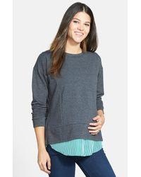 Loyal Hana 'alex' Layered Look Maternity/nursing Sweatshirt - Gray