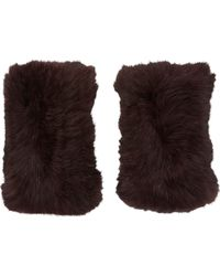 Barneys New York Rabbit Fur Fingerless Gloves red - Lyst