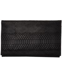 Danielle Foster - Black Python Embossed Clutch - Last One - Lyst