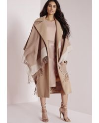 Missguided Contrasting Border Blanket Wrap Nude - Natural