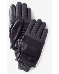 Express Leather And Knit Gloves - Gray