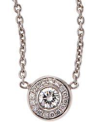 Roberto Coin 18K White Gold Pave Diamond Pendant Necklace - Lyst