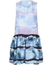 Victoria, Victoria Beckham Purple Tier Print Ruffle Dress - Lyst