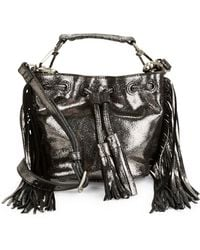 B Brian Atwood | Pippa Fringe Metallic Leather Bucket Bag | Lyst