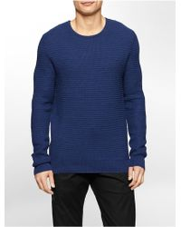 Calvin Klein White Label Textured Cotton Crewneck Sweater blue - Lyst