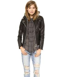 Doma Hoodie Leather Jacket  Black - Lyst