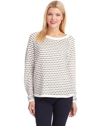 French connection Striped Hole Sweater - Lyst