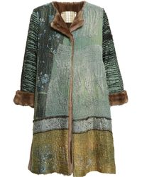 By Walid Antique Chinese Textile Coat With Mink Lining - Brown