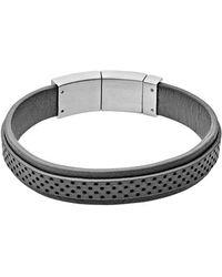 Skagen - 'vinther' Perforated Leather Bracelet - Lyst