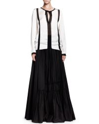Lanvin Long Tiered A-line Skirt with Rosettes - Lyst